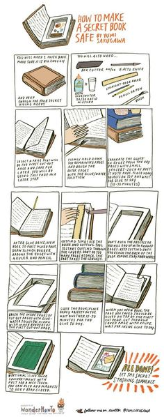 How to make a super secret book safe. So cool! Is it bad that I want to make one to hide spare pens and highlighters?