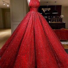 Ball Gown High neckline Prom Dress With Beads Floor-Length Sequins Quinceanera Dress Sweet 16 Dresses for Girls Sweet 16 Dresses, Sweet Dress, Elegant Dresses, Pretty Dresses, Dress Red, Glamorous Dresses, Robes Disney, Jugend Mode Outfits, Girls Dresses