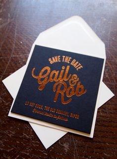 Save the Date coasters. Copper hot foil on Black 540gsm Colorplan.