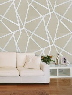 Buy Sumi Pebble/Chalk in Pebble/Chalk, a feature wallpaper from Harlequin, featured in the Momentum 3 Wallpapers collection from Fashion Wallpaper. Feature Wallpaper, Wallpaper Ideas, Downstairs Loo, Fashion Wallpaper, Lounge Decor, Riyadh, Interior Design, Living Rooms, House