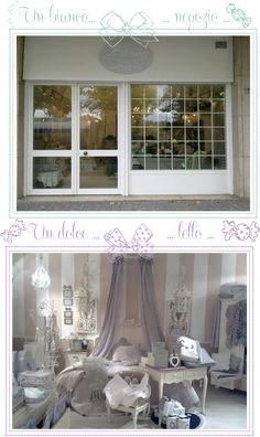 shabby windows and bedroom in Blanc mariclò shop