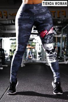 2762125e5b5a0 Leggings Skull Print Hip Push Up Leggings Women High Waist Elastic Bo Skull  Print, Women's