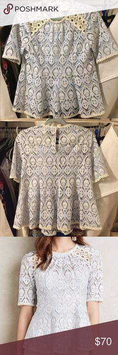 NWOT HD Paris Lace Blouse w/ slip sz 8 New without Tags! Gorgeous top, fits like a Medium, yes I trade occasionally! Yes I will sell for less through P-P-L! Anthropologie Tops