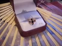 BEAUTIFUL BLACK & CLEAR SAPPHIRE GP RING size 5