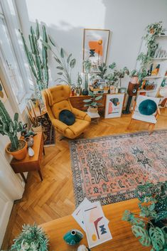 living room of artist Jan Skacelik with his artworks plants and mid-century modern furniture art abstractart midcentury interiordesign # House Design, Home Decor Inspiration, Decor, House Interior, Apartment Decor, Aesthetic Room Decor, Boho Living, Mid Century Modern Furniture, Boho Style Living Rooms