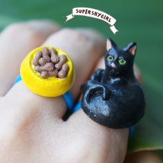 Black Cat Ring and Cat Food Bowl Ring Set by supershygirl