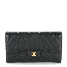 CHANEL Caviar Quilted Large Flap Wallet Black 150753