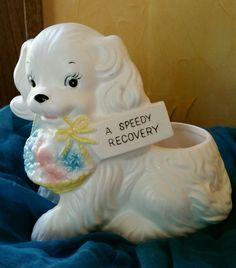 Vintage White Dog Puppy Planter Vase Rubens Japan Flower Basket #401 Get Well