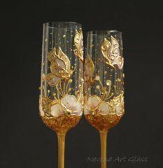 Copas de Champagne. Boda copas boda mariposa copas oro mano