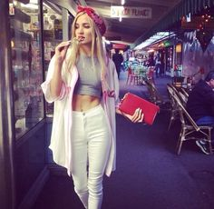 Baseball Jersey. Bandanna Headband. White Jeans. Crop Tee. Urban Outfit. Hip Hop Fashion. Swag. Pia Mia Style