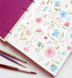 "Juliana Rabelo  on Instagram: ""Inaugurando meu sketchbook novo para aquarela da @miolitocadernos  Vamos ver o que vai virar esse pattern floral ;~} sugestões? || I'm starting this new watercolour sketchbook from @miolitocadernos with some flowers. What do you think they're gonna be? Suggestions are welcome :)  #festiveWNgiveaway"""