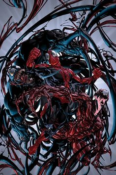 Venom and Carnage vs Spider-Man by Clayton Crain