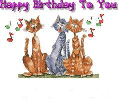 Cat Cats singing Happy birthday to you animations animation animated gif gifs…