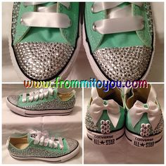 Bridal Junk Chucks with custom toe tip. Rhinestone and pearls with Satin accents and bridal date on the back. Custom Converse, Converse Chuck Taylor, Badass, Bling, Slip On, Toe, Sporty, Satin, Pearls