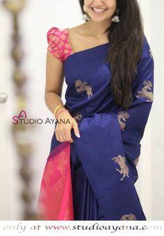 Aithreya - Exquisitely Handcrafted Kanjivaram Silk Saree from Studio Ayana! Saree Jacket Designs, Pattu Saree Blouse Designs, Half Saree Designs, Blouse Designs Silk, Bridal Blouse Designs, Simple Blouse Designs, Stylish Blouse Design, Saree Trends, Saree Models