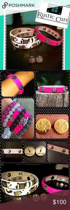 """*RUSTIC CUFF* 2 BRACELETS/SPECIAL EDITION EARRINGS I have a set of RUSTIC CUFF wrap bracelets and a pair of RUSTIC CUFF special edition (limited quantity made) gold stud engraved earrings. I have the """"Meagen"""" Calfskin HOT PINK with silver emblems single wrap,(discontinued) & VERY rare & the """"Meagen"""" Calfskin WHITE LEOPARD with gold emblems DOUBLE wrap. These bracelets are in EXCELLENT CONDITION and retail for $160. The SPECIAL EDITION earrings are a gold round stud, with """"LOVE"""" and arrows…"""