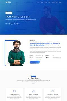 Dekha - Creative Personal Portfolio Landing Page Template - New is a Personal Portfolio responsive based on This is one page for placing your information. All files and code has been well organized and nicely commented for easy to customize. Portfolio Website Design, Website Design Layout, Portfolio Web Design, Creative Portfolio, Personal Portfolio, Web Developer Portfolio Website, Portfolio Layout, Online Portfolio, Web Design Websites