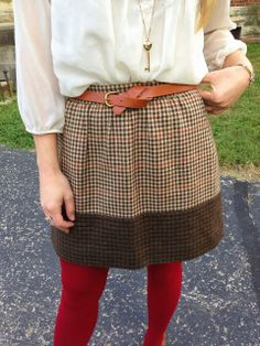 Tweed skirt, flowy blouse, colored tights, and knotted belt