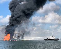 U.S. Coast Guard crews respond to a dredge on fire in the Port of Corpus Christi Ship Channel, rescuing two injured individuals. Patriotic Poems, Corpus Christi, Coast Guard, Channel, United States, Fire, Ship, Image, Ships