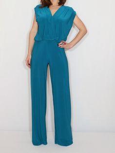 Size Large / Last size / Teal blue wide leg jumpsuit women Blue sleeveless jumpsuit Burgundy Outfit, Burgundy Jumpsuit, Yellow Jumpsuit, Blue Jumpsuits, Jumpsuits For Women, Teal Blue, Bright Green, Jumper Outfit, Designer Jumpsuits