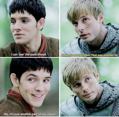 This is horrible, honestly. Necessary, but horrible. Merlin, trying to pretend it's all normal, like it was before Arthur started dying, like it was before Arthur found out about him. Joking with Arthur just like he used to. And Arthur, trying to ignore that for the past five years of his life his best friend has been hiding the truth, has been covering who he really is from him. It's one of the very most heartbreaking scenes of the whole show.
