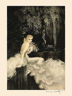 Icart-Fashion-Deco-Lady-White-Dress-Flowers-Fine-Art-Reproduction-FREE-S-H