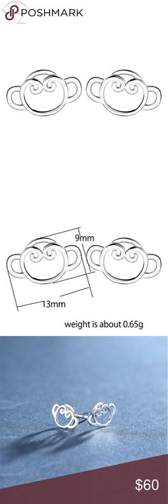 🆕🐒 Crazy Monkey Studs 100% 925 Sterling Silver This just in!! 100% solid 925 Sterling silver Adorable & affordable crazy looking Monkey's in stud style earring. Even better yet seller sent 2 kinda backs, that never happens!  They've sent flower style silicone backs & 925 Butterfly style 😸 BONUS! I'M totally pumped up about it, tho I know it's only a stupid little thing but sometimes it is the Lil thing's that count! Fresh & my very own pics coming soon, even tho they're identical to the…