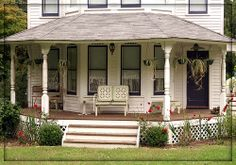 This front porch reminds me of my Uncle Barry and Aunt Willie Knight's house in Jumpertown, MS! The house was a single-story, so it was wider...on the main road, not too far from the Jumpertown Cemetery.