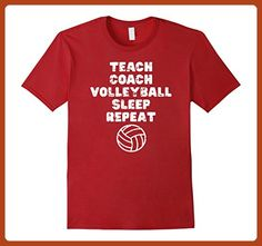 Mens Teach Coach Volleyball Sleep Repeat Funny T Shirt Large Cranberry - Sports shirts (*Partner-Link)
