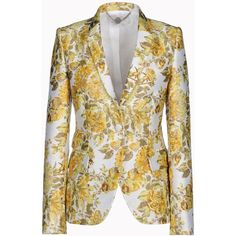 Stella Mccartney Citrus Floral Jacquard Roman Jacket ($742) ❤ liked on Polyvore featuring outerwear, jackets, blazers, tops, coats, floral jacket, floral blazer, tailored jacket, slim jacket and jacquard blazer