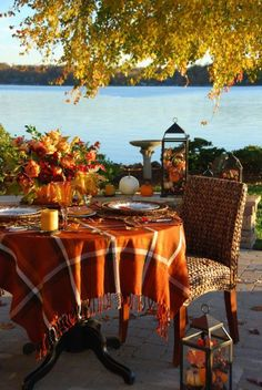 Fall dining by the lake