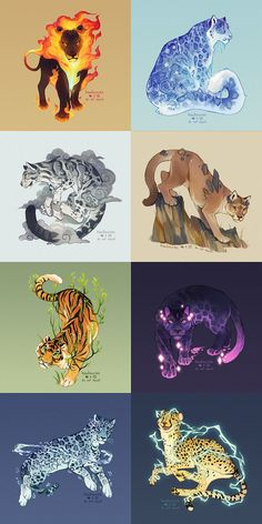 elementals by hawberries on DeviantArt Cute Fantasy Creatures, Mythical Creatures Art, Mythological Creatures, Mystical Animals, Big Cats Art, Furry Art, Cat Art, Cute Animal Drawings, Cool Art Drawings