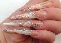 Sticker Bridal Close Up Stiletto Nails And Crystal Rhinestone Accesories