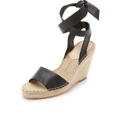Loeffler Randall Harper Wedge Espadrilles ($300) ❤ liked on Polyvore featuring shoes, sandals, black, wide wedge sandals, ankle wrap espadrille, black leather sandals, platform sandals and platform wedge sandals