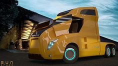 Future Transportation - Eco Trucks: SunTruck – The next-gen highway cruiser Mack Trucks, Big Rig Trucks, New Trucks, Custom Trucks, Cool Trucks, Pickup Trucks, Pickup Camper, Super Pictures, Super Images