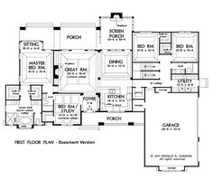Plan 65614bs one story four bed beauty planimetrie for Case layout planimetrie