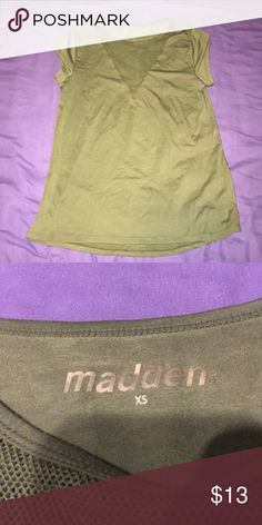Green tshirt with mesh design Trendy green tshirt with mesh design on front. Madden NYC. New w/o tags madden nyc Tops Tees - Short Sleeve