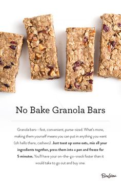 A quick and easy granola bar recipe. Our No Bake Granola Bars can be frozen and ready in 5 minutes. Quick snack that'll last the day.