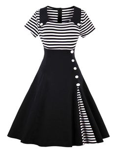 1950s Black Vintage Striped Swing Party Dress – Retro Stage - Chic Vintage Dresses and Accessories