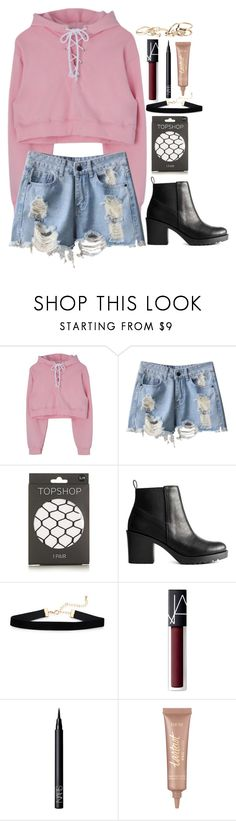 """good girls are bad girls that haven't been caught."" by izzaidaniia ❤ liked on Polyvore featuring Topshop, NARS Cosmetics, tarte and GUESS"