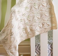Free knitting pattern for Leafy Baby Blanket - quick lace blanket knit with 2 strands dk yarn on larger needles