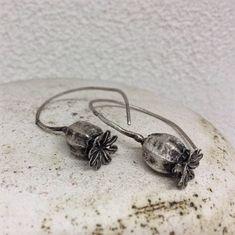 Poppy pod earrings- Sterling silver dangle earring -Botanical jewelry-Nature cast jewelry-Statement earrings
