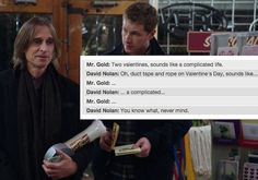 "David's silent judgment of Mr. Gold's plans for Valentine's Day. | 24 Jokes Only ""Once Upon A Time"" Fans Will Understand"