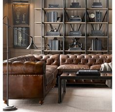 RH's Preconfigured Petite Kensington Leather Corner Sectional:A masterful reproduction by Timothy Oulton of the classic Chesterfield style, our sofa evokes the grand gentlemen
