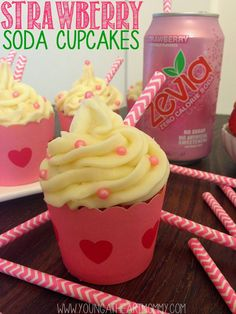 Strawberry Soda Cupcakes using @zevia soda!  #ZeviaStyle #MomsMeet (Use gluten free cake mix)