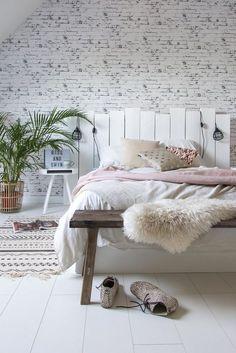 White bedroom with DIY headboard
