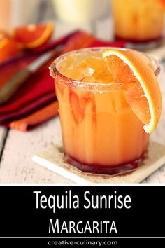 Not just delicious with the flavors of OJ and Grenadine, this Tequila Sunrise Margarita is absolutely beautiful too! via Not just delicious with the flavors of OJ and Grenadine, this Tequila Sunrise Margarita is absolutely beautiful too! Fun Cocktails, Fun Drinks, Yummy Drinks, Mixed Drinks, Cocktail Drinks, Cocktail Ideas, Cocktails With Grenadine, Gold Drinks, Beach Drinks
