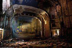 Julia Solis has photographed over 100 abandoned theaters for her project: Stages of Decay  http://www.stagesofdecay.com/  Palace: The Palace Theatre in Gary, Indiana