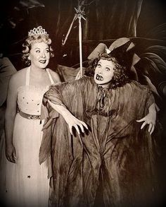 vintage image of Lucille Ball and Vivian Vance in Halloween Costume spooky witch Lucy