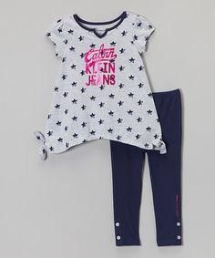 Look at this #zulilyfind! Gray & Navy Star Tunic & Leggings - Infant, Toddler & Girls #zulilyfinds